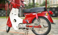 Selling away a rare vintage Honda C70 cub. Only used occasionally. Bike has nice number plate as a bonus. Bike is Red and White all original parts. Square headlight, FK plater *777. Bike has just been recently lay up only. Too many bikes thus need to sell