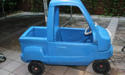 I am selling a pre-loved Little Tikes Blue Ute 2. This is a great toy as it has a tray back and removeable tailgate for all your little ones prize possessions or even a friend! My children spent hours playing with it but sadly now outgrown. Condition