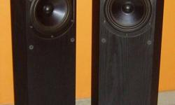 Musical Technology floor speakers for sale. Model Harrier.In real wood, black ash veneer. Audiophile grade component. Manufactured and hand assembled in England. Can bi-wire. Retail price$1,600. Compact dimension. 32 inch x 10 x 9 inch. With