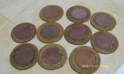 Lightly used 10 BROWN RATTAN N WOOD COASTERS from Bali