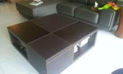 $180 - LORENZO Wood & Leather coffee table, this table