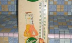 1950s Green Spot Metal Advertisement With Thermometer,