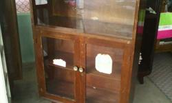 1970s Pencil Leg Solid Wood Display Cabinet in good