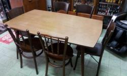 1970s Pencil Leg Dining Table with formica intact. In