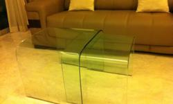 1 set of 2, tempered glass coffee table can slide in to