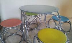 Round Metal Table + 4 Colourful Stool Table size : H