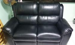 2 Seater Recliner Sofa in Black PU Leather. Bought at