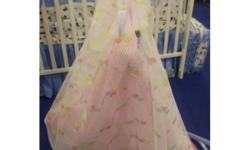 Mosquito net with zipper and flower printed pattern