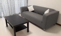 Two and half seater sofa with removable cover (Grey