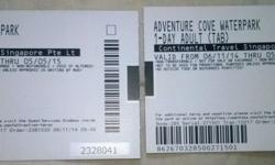 2 Adventure Cove Water Park Sentosa (23$ each) .please