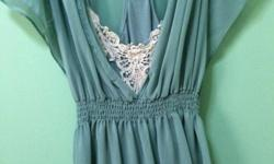 This turquoise 2 piece chiffon top has been wore once