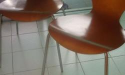 2nos of Wooden Chairs for sale. The chrome legs are