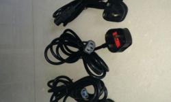 3-pin square power-cords with 5A fuses, Length approx.