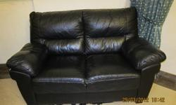 3+2 black colour leather sofa ,used