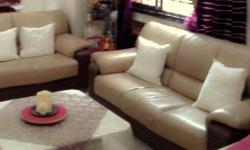 Moving out sales 3+2 seater sofa half leather.