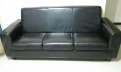 3 Seater Leather well maintained black colour sofa - 2