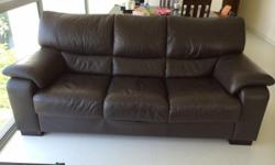 3 seater dark brown leather sofa for sale. Sofa is very
