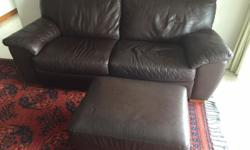 Three Seater Leather Settee and Footstool. Dark Brown