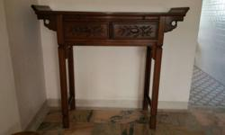 4.67 Feets Rosewood Used Bird & Flower design altar
