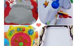 Play gym mat/ Musical Cot Mobile/ Push walker & Playpen