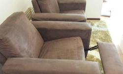 $50 each for Harvey Norman Suede Recliners - Brown
