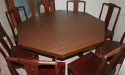 8 seater Octagon Dining Table - used, solid wood base,