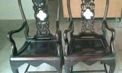 Antique chair, carved of hardwood with beautiful