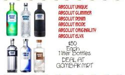 Absolut for sale. $50 each. Deal at Gombak MRT after