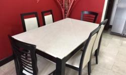 6 PAX - MARBLE TOP DINING TABLE Size : LxB : 58x34