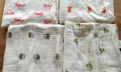 Aden and Anais muslin swaddles Each measures 130cm x