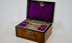 AN ANTIQUE MOTHER OF PEARL INLAID WALNUT WORK BOX Circa