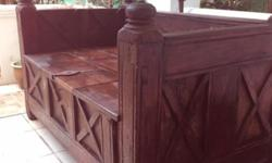 Antique Arabian Wooden Carved Bench, with storage space