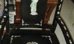 Antique Chinese Writing table and Chair with Mother of