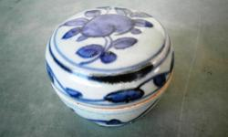 Antique Qing Dynasty blue and white peach ornamentation