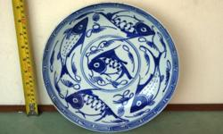 Antiques Republic blue and white with Fish plate