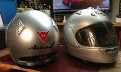 2 pcs silver colour, hardly worn Arai Full Face