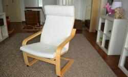 Armchair (from Ikea) - Birch veneer and white fabric -