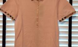 Ice Pink stretch cotton check trim polo shirt from