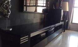 Black TV trolley with glass Top and 3 drawers , very