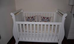 Baby Cot -white,  design Sleigh. From Mothers Work-
