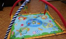 Colorful baby play mat/gym comes with 2 hanging toys.