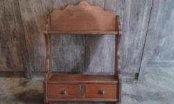 Balinese Wall Display Wood Cabinet With 2 Small Drawer
