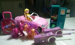 A huge barbie car, barbie girl, barbie wardrobe, 2