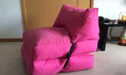 Pink bean bag chair/bed, removable cover, good as new,