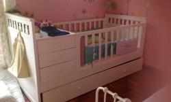 Cot bed can be converted to adult size single bed by