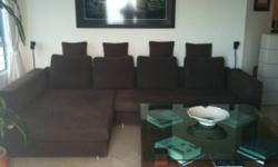 REDUCED TO SELL Beautiful Large L-Shape Sofa (Dark