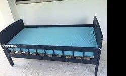 blue bed of size 155x77 cm with good clean thick