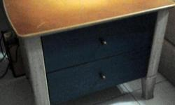 Bedside table cabinets Brown and blue 2 pull out