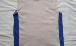 Beige with blue sides, sleeveless men/man tee shirt or