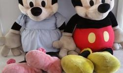 "Big Mickey And Minnie Plush Toy 46"" length Preloved and"
